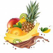 Vector Ads 3d Promotion Banner, Realistic Mango, Peach, Lemon, Orange, Banana, Pineapple, Kiwi  Spla poster