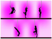 picture of lap dancing  - Vector eps 8 of 5 pole dancers silhouettes with sexy poses - JPG