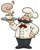 pic of steamy  - Cartoon chef holding a steamy bowl of soup - JPG