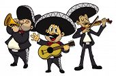 stock photo of stereotype  - Three cartoon mariachis - JPG