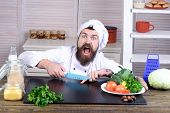 Chef Man. Kitchen Accessories, Cooking Equipment. Male Chef Cutting His Finger. Bearded Man Cut In H poster