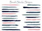 Retro Ink Pink Blue Brush Stroke Stripes Vector Set, Horizontal Marker Or Paintbrush Lines Patch. Ha poster