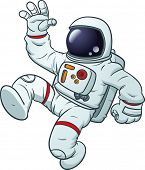 Cartoon astronaut floating. Vector illustration with simple gradients. All in a single layer.