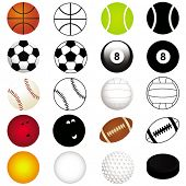 Vector Sports Set : Different kinds of Balls in color and silhouette