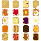 A vector collection of Sliced White / Brown bread toast with jam, egg, etc. Isolated on white