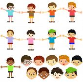 stock photo of cartoon people  - A colorful Theme of cute vector Icons  - JPG
