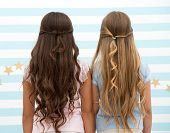 Hairdresser Salon Services. Two Little Girls Kids With Long Hair At Hairdresser. Little Girls With L poster