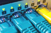 Patch Cords Green Are Inserted Into The Switch Ports, The Indication Flickers Green Light Links Are poster