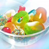 Close up of bowl with colorful candy.