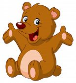 stock photo of bear-cub  - Happy teddy bear raising his arms - JPG