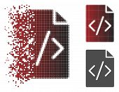 Programming Script Page Icon In Fractured, Dotted Halftone And Undamaged Whole Versions. Elements Ar poster