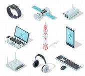 Electronic Devices. Isometric Wireless Gadgets Connection. Remote Controller, Cell Phone Router. Con poster