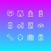 Illustration Of 12 Fauna Icons Line Style. Editable Set Of Kibble, Bone, Fishbowl And Other Icon Ele poster
