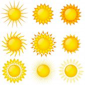 Set of sun vector. Elements for design.