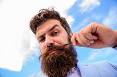 Man Bearded Hipster With Mustache Sky Background. Ultimate Beard And Moustache Grooming Guide. Exper poster