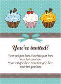image of happy birthday card  - Vintage cupcake card - JPG