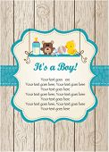 stock photo of baby-boy  - Baby boy invitation - JPG