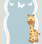 Cute baby boy giraffe card