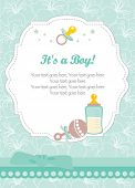 stock photo of baby-boy  - New baby boy card - JPG