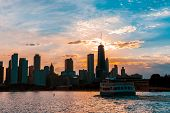 Chicago Skyline Viewed From The Pier On Lake Michigan With Sunset Sky In The Background poster