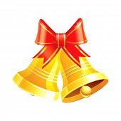 stock photo of christmas bells  - Two vector Christmas bells with a red ribbon - JPG