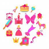 Princess Accessories Icons Set. Cartoon Illustration Of 16 Princess Accessories Icons For Web poster