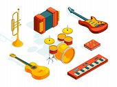 Musical Instruments. Isometric Pictures Set Of Various Colored Musician Tools. Instrument Musical, G poster