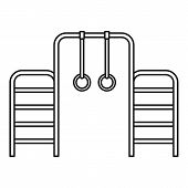 Gymnastics Rings And Ladder Icon. Outline Illustration Of Gymnastics Rings And Ladder Icon For Web poster