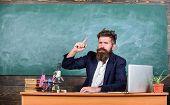 Telling Educational Stories. Teacher Bearded Man Tell Interesting Story. Teacher Charismatic Hipster poster
