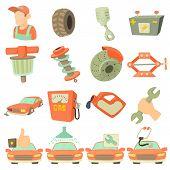 Car Repair Items Set. Cartoon Illustration Of 16 Car Repair Items Icons For Web poster