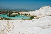Panoramic view of Pammukale near modern city Denizli, Turkey. One of famous tourists place in Turkey poster