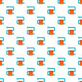 Heated Towel Rail With Orange Towel Pattern. Cartoon Illustration Of Heated Towel Rail Pattern For W poster