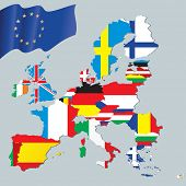 Постер, плакат: Европейский союз карта с флагами
