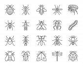 Danger Insect Thin Line Icons Set. Outline Sign Kit Of Bugs. Beetle Linear Icon Collection Of Dragon poster