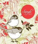 love card with garden theme backgrounds and cute little birds
