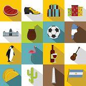 Argentina Travel Items Icons Set. Flat Illustration Of 16 Argentina Travel Items Icons For Web poster