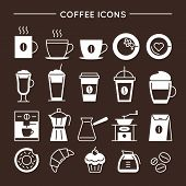 Coffee And Tea Linear Icons Set. Coffee Shop Equipment, Cups And Bakery Symbols. Cafe And Restaurant poster