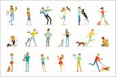 Happy People Having Fun With Pets, Man, Women And Kids Training And Playing With Their Pets Vector I poster