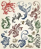 Swirl baroque design, vector grunge flowers