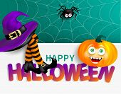 Cute Spider On Cobweb, Orange Pumpkin With Happy Monster Face, Purple Witch Hat And Legs With Stripe poster