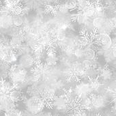 Christmas Seamless Pattern With White Blurred Snowflakes, Glare And Sparkles On Gray Background poster