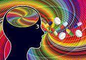 Stimulant Drugs Like Amphetamines. Euphoric Feeling After Taking Psychoactive Substances Like Speed  poster