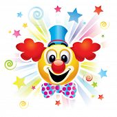 Smiley bal als clown in het circus