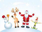 Santa Claus, Reindeer, Elf and Snowman