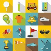 Golf Items Icons Set. Flat Illustration Of 16 Golf Items Icons For Web poster
