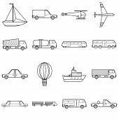 Transportation Items Icons Set. Outline Illustration Of 16 Transportation Items Icons For Web poster
