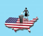 American Citizen Voting For Usa Election Over An 3d Map Of Us. All The Objects, Shadows And Backgrou poster