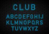 Light Neon Font Alphabet Vector.bright Blue Lamp Electric Illuminated Decoration, Retro Vintage Adve poster