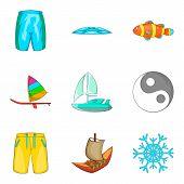Aqua Aerobics Icons Set. Cartoon Set Of 9 Aqua Aerobics Icons For Web Isolated On White Background poster