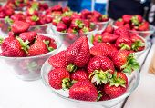Fresh Strawberries On Display At A Farmers Market In New Zealand, Nz - Organic Spray-free Fruit Pres poster